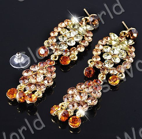 Champagne Rhinestone&Gold Plated Necklace&Earring 1set