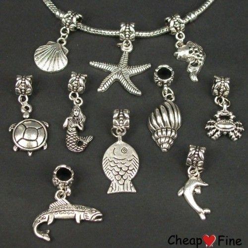 30x mixed Tibetan silver Sea Animal DANGLE Charms Bead