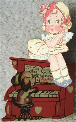 GIRL on PIANO VALENTINES DAY Card ROSE HEARTS DOG 1930s USA