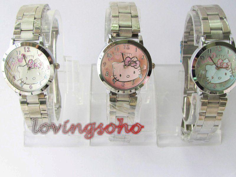 SLIM DESGIGN ladys girls hello kitty stainless steel wrist watch