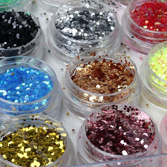 12 Color Glitter Powder Nail Art Gel Tips Decoration