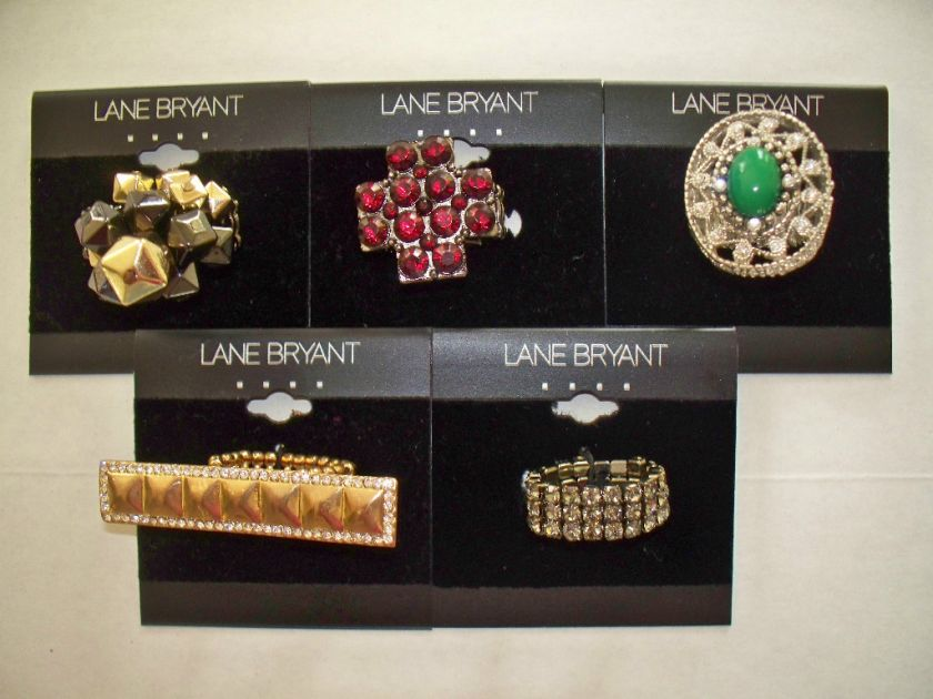 Lane Bryant Costume Fashion Jewelry Stretch Ring Gold Silver Black