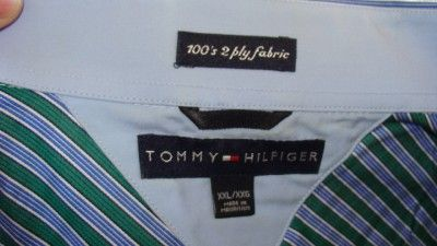 TOMMY HILFIGER COTTON XXL GREEN BLUE STRIPES LONG SLEEVE SHIRT FRENCH