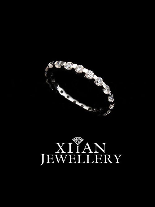 18K White Gold Plated Thin Ring Little Finger Ring with Swarovski